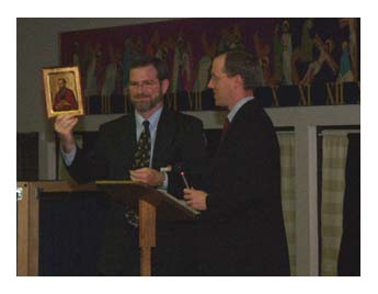 "Jeff Receives ""Servant of the Word Award"" Jeff and Emily Cavins Holy Land Pilgrimages and Media"